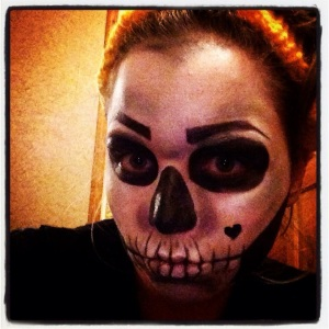 Skeleton with white irredescent eye shadow rather than facepaint